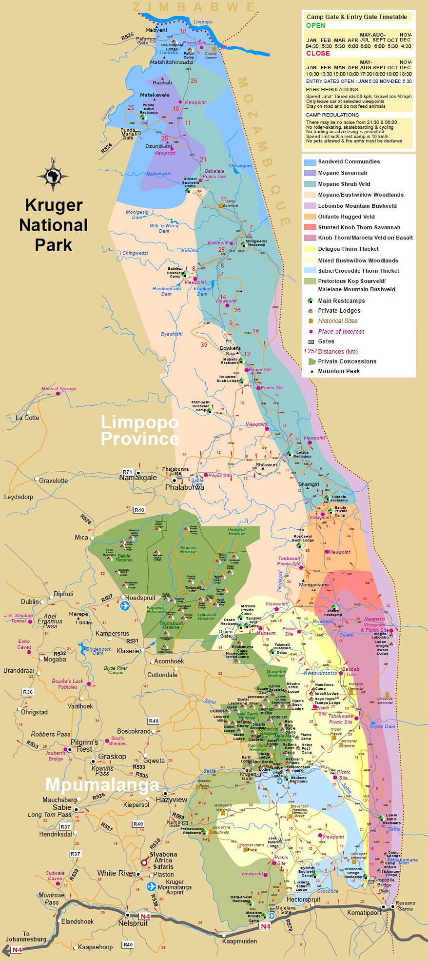 Carte Afrique Du Sud Parc Kruger.Cartes Et Maps Parc Kruger Safari Afrique Du Sud